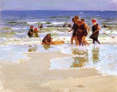 Edward Potthast (1857-1927) - At the Seashore - Oil on panel