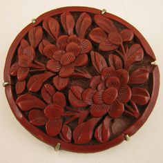 Early 1900s Chinese Export Red Cinnabar Peony Brooch