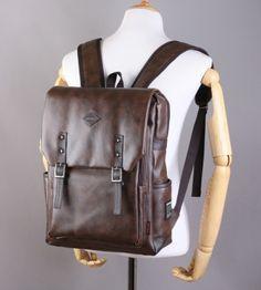 Dark Brown Synthetic Leather Backpacks Men School Laptop Large Bags Rucksack Korean Fashion