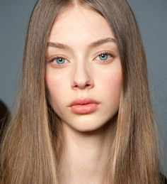 Baby face: soft rose cheeks and lips at Chloe Fall Winter 2015. #makeup #aw15 #fw15