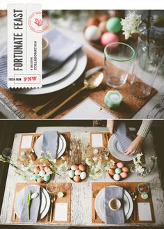 Easter brunch table from Scout blog - love this look that incorporates spring flowers like tulips and daffodils