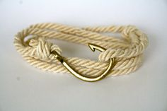 Nautical Cotton Fish Hook Bracelet - Adjustable Maritime Wrap Bracelet, Mens and Womens Anchor Bracelet via Etsy