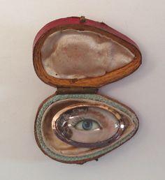 Circa 1785 Eye Portrait miniature on ivory brooch in original hinged box. lovers eye