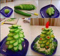 Trakteer Komkommer-kerstboom toptraktaties.nl - Gezonde traktaties op school - groep 1 t/m 8 - traktatie