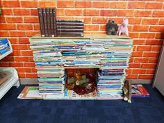 Fireplace made from weeded books. Books, Libros, Book, Book Illustrations, Libri