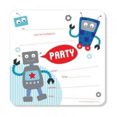 Robot invitations - love the simplicity!
