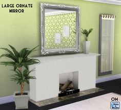 The Sims 4 | Orangemittens' Large Ornate Maxis Match Mirror | buy mode new objects living room