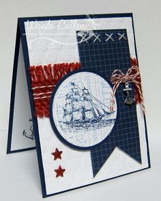 The Open Sea card #1 Love the frayed burlap! Stampin up!