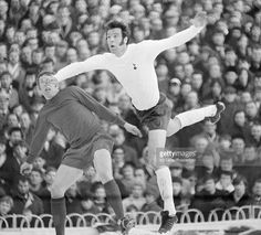 Mike England of Tottenham Hotspur in action during their Division One football match against. First Football, Football Match, Tottenham Hotspur Players, Bristol Rovers, Spurs Fans, White Hart Lane, Thing 1, Leeds United, North London