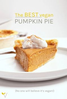 This classic vegan pumpkin pie is so creamy and rich, no one will believe it's vegan. The filling can be made in a blender for a quick and easy fall dessert the whole family will love. #veganpumpkinpie #veganthanksgiving