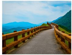 Path Railed overlooking hilltops by Suzo Images on Creative Market