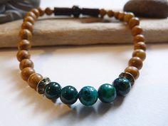 ᘛ ☽ Bracelet homme, ethnique et celte en turquoise verte africaine et jaspe bois ᘚ : Bracelet par un-amour-de-perles-bijoux