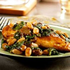 Balsamic Chicken with White Beans and Spinach.