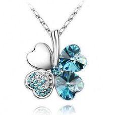 Teal Clover Pendant Necklace - ShoppingWithAdam.com