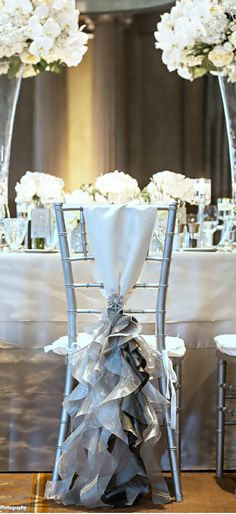 Wedding ● Chair Décor idea ● Silver www.MadamPaloozaEmporium.com www.facebook.com/MadamPalooza
