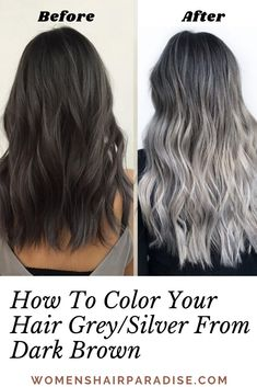 Looking to transition to gray natural hair? Or are you looking to add grey hair highlights to your hair? Check out how to dye your hair grey silver from dark brown hair diy at home. Blonde Ombre Hair, Natural Hair Care Tips, Natural Hair Styles, Long Hair Styles, Sleep Hairstyles, Diy Hairstyles, Grey Hair Diy, Grey Balayage, Gray Hair Highlights