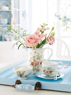 Pretty blue tray for tea and roses <3 Love the tray, can make out of med size picture frame, paint & add handles