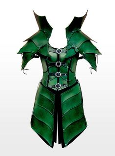 Green leather elf armor, with some major mods this could be sca armor too! Armadura Medieval, Texture Metal, Elf Armor, Larp Armor, Elven Queen, Dragon Armor, Foam Armor, Female Armor, Leather Armor