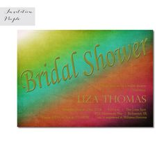 RETRO VINTAGE COLORS Bridal Shower Invitation Green Red Vintage Dyed Shower Digital or Free Shipping 66 Modern Invitations, Gold Invitations, Printable Invitations, Bridal Shower Invitations, Vintage Colors, Retro Vintage, Order Prints, Initials, Free Shipping