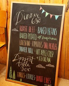 Vibrant colored chalk and a graphic font make this chalkboard coordinate with this wedding's playful travel theme