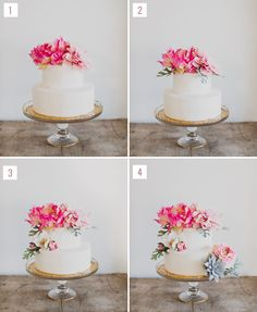 """DIY Boho Cake with Flower Topper  I'm just going to pretend it's not labeled, """"BOHO""""."""