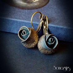 Polymer clay rose earrings, Polymer clay earrings