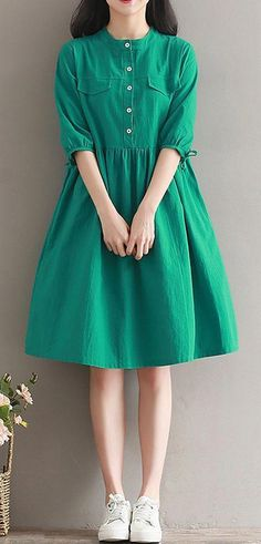 Women loose fit over plus size dress green button skater skirt casual fashion ~ THE PİN Stylish Dresses, Simple Dresses, Nice Dresses, Casual Dresses, Casual Shoes, Halter Dresses, Green Dress Casual, Maxi Dresses, Evening Dresses