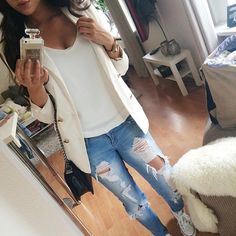 ripped jeans & white blazer