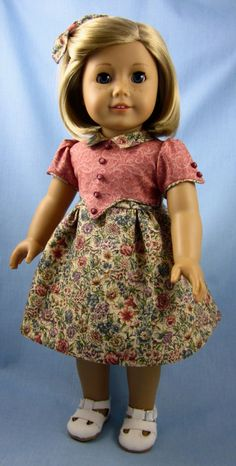 1930s Frock for American Girl Dolls - Kit or Ruthie - Taupe Floral. $25.00, via Etsy.