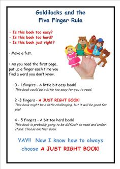Goldilocks & the 5 Finger Rule for picking the right book Reading Activities, Teaching Reading, Teaching Ideas, Five Finger Rule, Just Right Books, Library Posters, Reading Comprehension Strategies, Reading Club, Good Readers