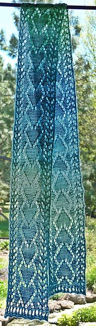One Skein Heart Lace Scarf: crochet pattern for purchase by Joan Rowe