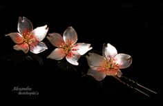 OOAK Hair Pins Cherry Blossom (set of 3), White Pink Wedding Accessories, Bridal Flowers, Pins, Clip, Wire wrapped.