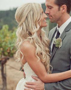 half pulled back curled wedding hair