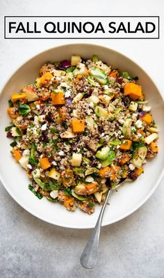This colorful and healthy fall harvest quinoa salad is packed with butternut squash, brussels sprouts, apples and cranberries. Serve it as a meal or as a side dish at your parties #glutenfree #salad #ad Healthy Gluten Free Recipes, Vegetarian Recipes, Quinoa Salat, Partys, How To Cook Quinoa, Fall Harvest, Healthy Salads, Soup And Salad, Soup Recipes