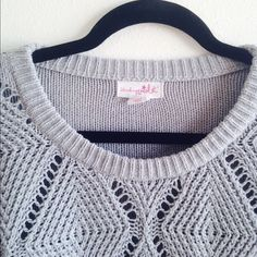 Grey Open Knit Sweater Very cute pullover sweater with solid back. Really nice and in excellent condition. Not anthropology but similar design. I'm happy to bundle and will include a free gift with purchase! Fits like small. Anthropologie Sweaters Crew & Scoop Necks