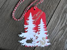 Christmas Tree and Critter Gift Tags Set of 6