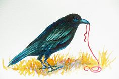 Crow with Red String an original watercolor. $125.00, via Etsy.  Helen KlebesadelArt