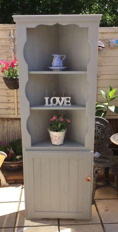 Shabby Chic Pine Corner Unit Painted In Annie Sloan Paris Grey
