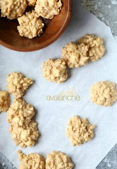 No Bake Avalanche Cookies - just 4 ingredients...Rice Crispies, white chocolate, marshmallows and peanut butter!!