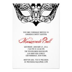 Colorful Mask Masquerade Invitations