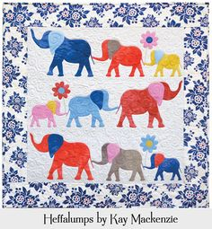Peaceful pachyderms enjoy an afternoon stroll. Make them as colorful as you like! • Full-size appliqué patterns and complete instructions for making the quilt top. • Appliqué by hand or machine. • Fusible appliqué tips included. • Quilt size is 31 x 31.