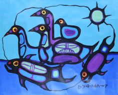 30 x 38 Loon Family 1979 Native Canadian, Canadian Artists, Woodlands School, Group Of Seven, Create Words, Native Art, Folklore, Alaska, Art Work