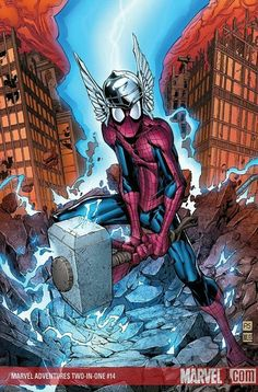 I believe I have actually seen this comic. Spiderman and Thor *cue epic music* Amazing Spiderman, All Spiderman, Spiderman Kunst, Marvel Comics Art, Ms Marvel, Marvel Heroes, Marvel Comic Character, Marvel Characters, Comic Books Art