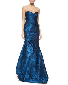 Strapless+Floral+Jacquard+Draped+Gown+by+Monique+Lhuillier+at+Bergdorf+Goodman. $3695, poly silk acrylic / silk organza / silk lining