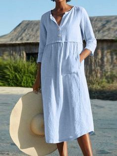 Linen Dresses, Cotton Dresses, Casual Dresses, Maxi Dresses, Cheap Dresses, Fashion Dresses, Midi Dress With Sleeves, Half Sleeves, Summer Dresses For Women