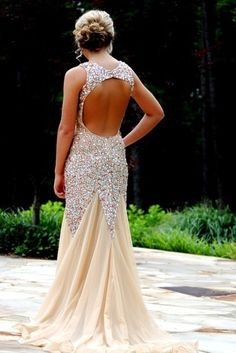 """*This dres is so gorgeous, I had to """"Pin"""" the look of the back of it as well. Looove it! * DIYouth Champagne Tulle Sequin A-line V-neck Backless Open Back Low Back Sexy Long Evening Dresses Prom,beaded PROM dresses,beading evening gowns, open back prom d Open Back Prom Dresses, Homecoming Dresses, Formal Dresses, Wedding Dresses, Dresses 2016, Dresses Dresses, Graduation Dresses, Sparkle Dresses, Lace Wedding"""