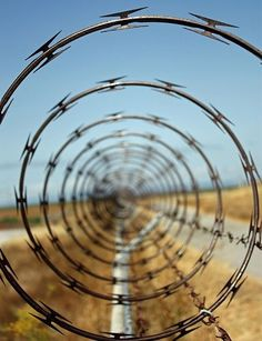 Repetition: This barb wire is an example of repetition, because you can see the same spiral all the way through the photo. Repetition is when something is repeated. Other elements in this photograph are, black and white, spiral, and leading lines. Motion Blur Photography, Perspective Photography, Types Of Photography, Abstract Photography, Creative Photography, Photography Ideas, Framing Photography, Symmetry Photography, Aperture Photography