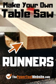 Table saw tips - how to make your own runners for table saw sleds and jigs. Create simple precise table saw runners that will glide smooth with zero wiggle. Woodworking Table Saw, Woodworking Jigsaw, Woodworking Patterns, Easy Woodworking Projects, Woodworking Techniques, Woodworking Shop, Woodworking Plans, Easy Projects, Wood Projects