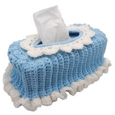$1.99 - Ruffled Tissue Box Cover - A Crochet pattern from jpfun.com