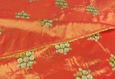 4 Drapes Masterpiece French Embroidered  Boudoir Taffeta Panels Rich Orange